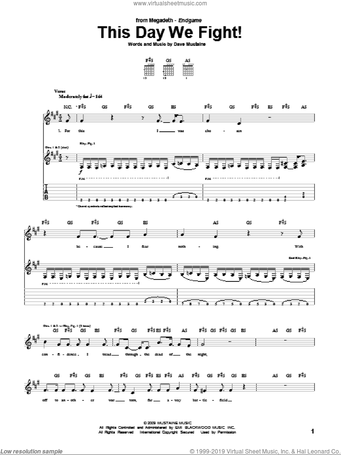 This Day We Fight! sheet music for guitar (tablature) by Megadeth, intermediate. Score Image Preview.