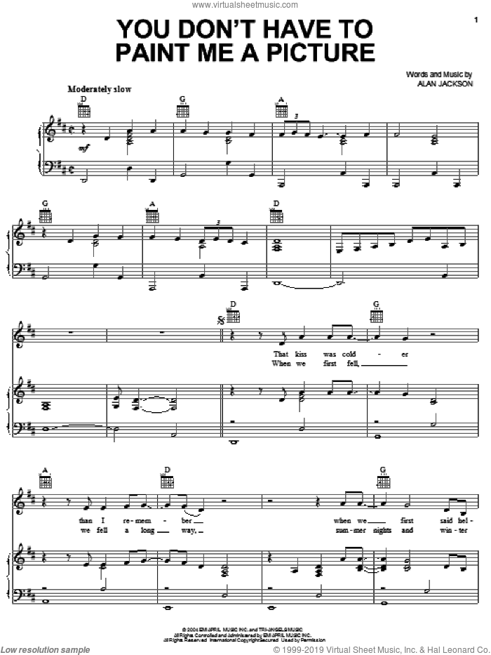 You Don't Have To Paint Me A Picture sheet music for voice, piano or guitar by Alan Jackson, intermediate. Score Image Preview.