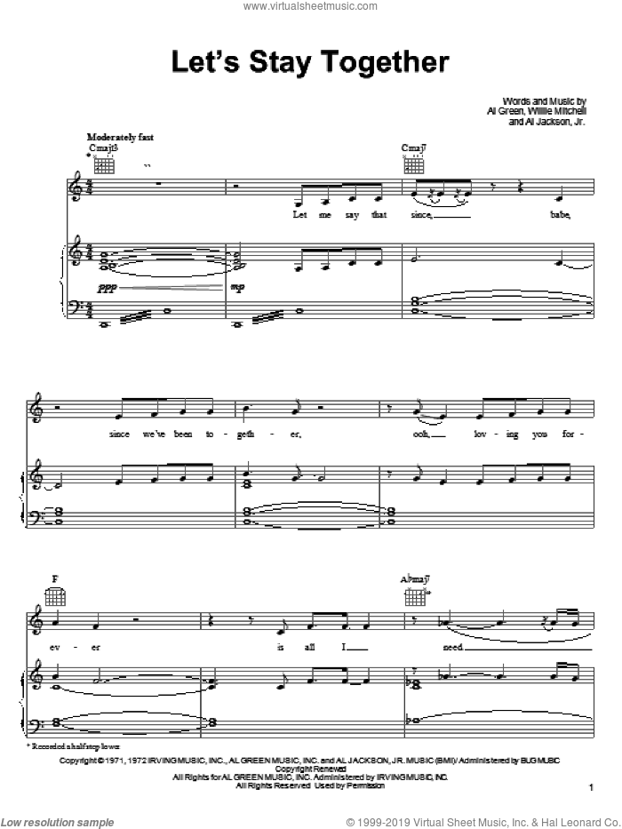 Let's Stay Together sheet music for voice, piano or guitar by Tina Turner, Al Green, Al Jackson, Jr. and Willie Mitchell, wedding score, intermediate skill level