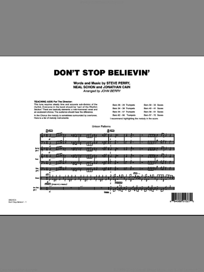 Don't Stop Believin' (COMPLETE) sheet music for jazz band by Steve Perry, Jonathan Cain, Neal Schon, John Berry and Journey, intermediate skill level