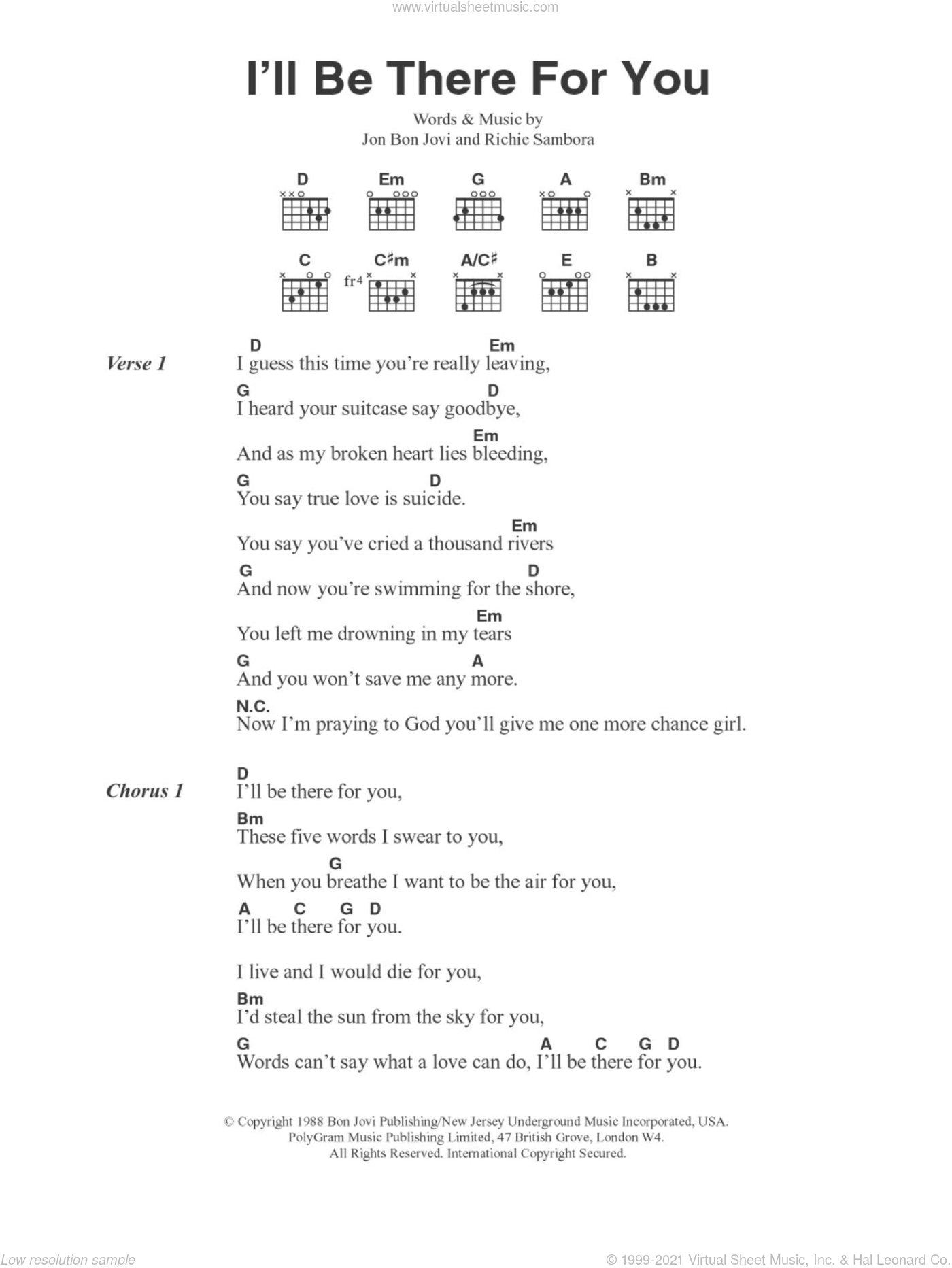 I'll Be There For You sheet music for guitar (chords) by Richie Sambora and Bon Jovi. Score Image Preview.
