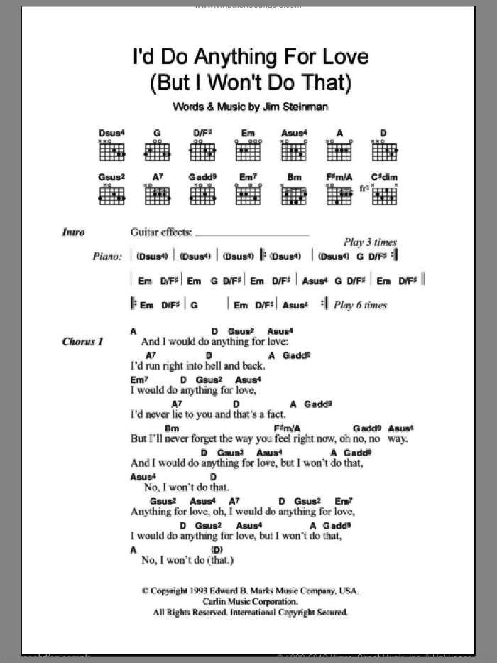 I'd Do Anything For Love (But I Won't Do That) sheet music for guitar (chords) by Jim Steinman. Score Image Preview.