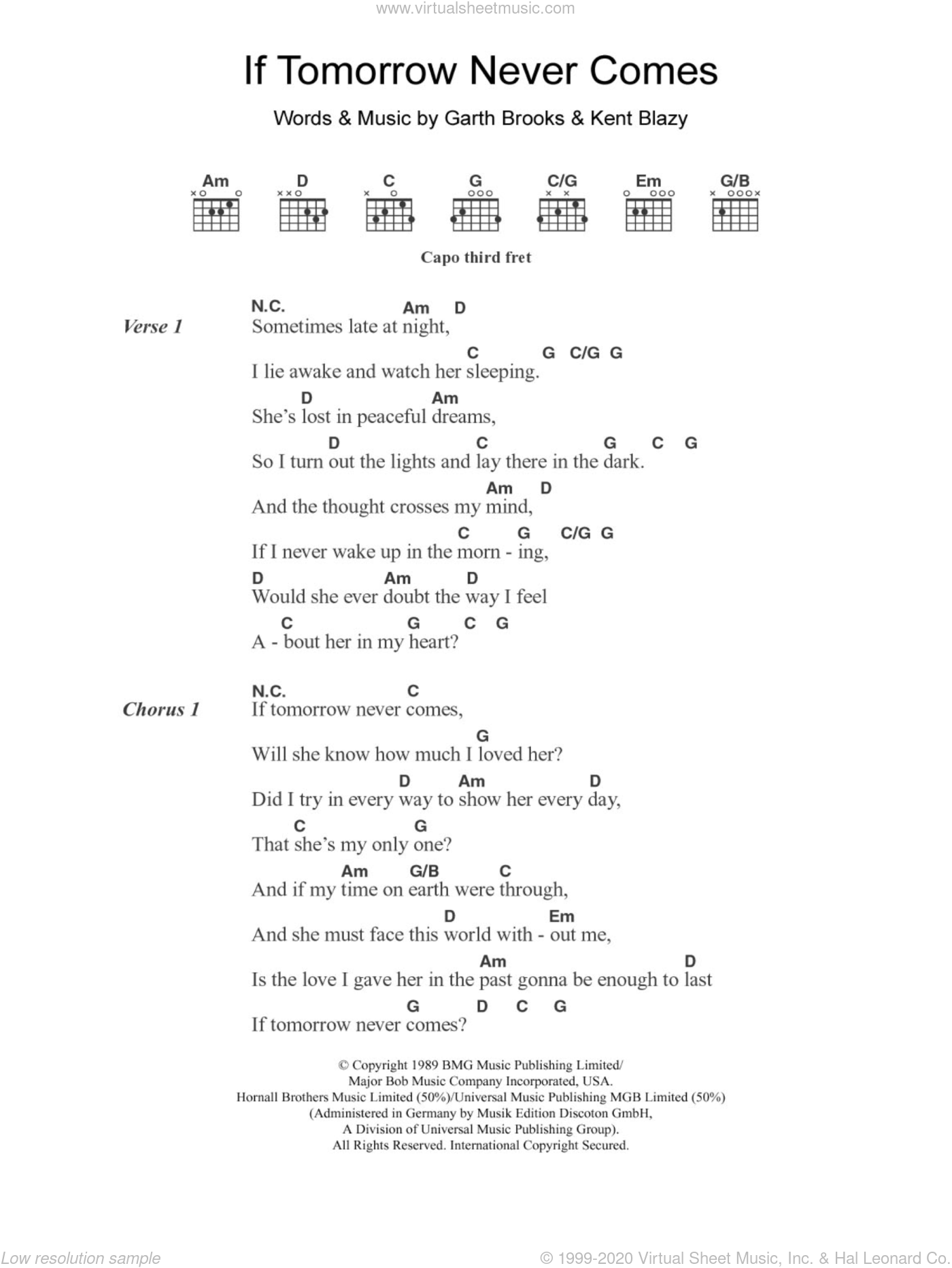 Keating If Tomorrow Never Comes Sheet Music For Guitar Chords