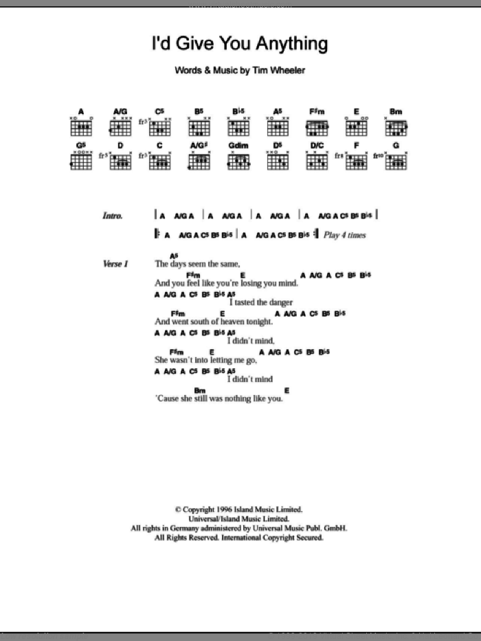I'd Give You Anything sheet music for guitar (chords) by Tim Wheeler. Score Image Preview.