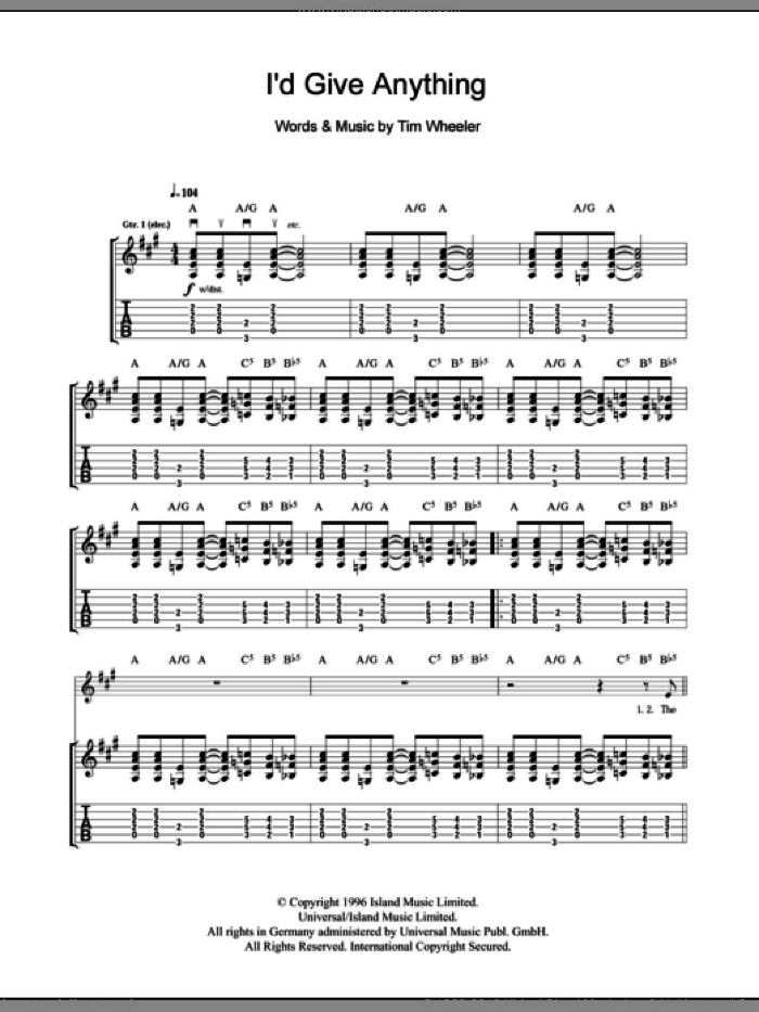 I'd Give You Anything sheet music for guitar (tablature) by Tim Wheeler, intermediate. Score Image Preview.