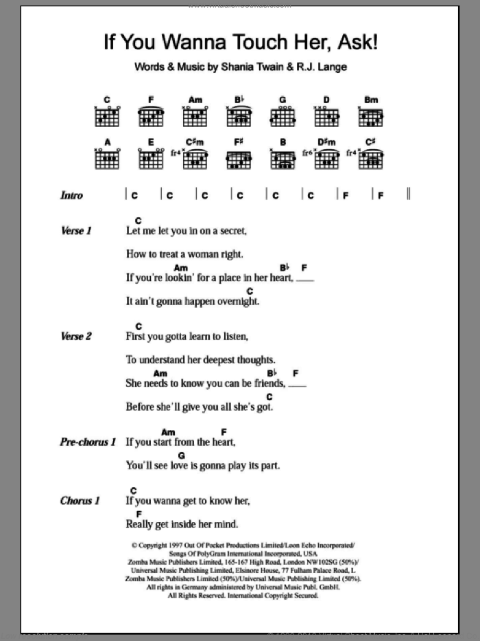 If You Wanna Touch Her, Ask! sheet music for guitar (chords) by Robert John Lange and Shania Twain. Score Image Preview.