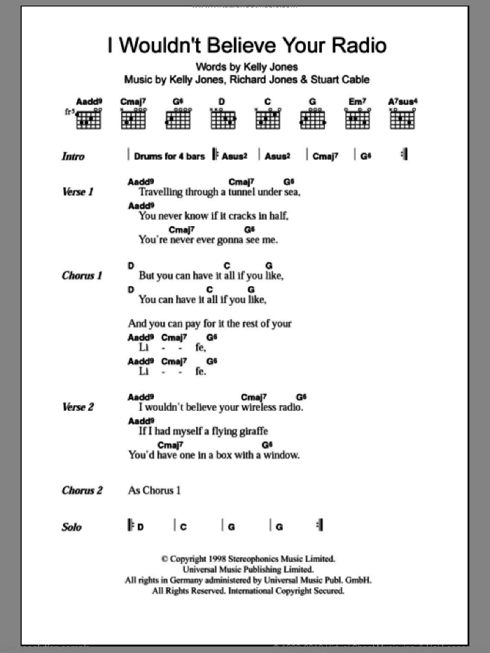 I Wouldn't Believe Your Radio sheet music for guitar (chords) by Stereophonics, Kelly Jones, RICHARD JONES and Stuart Cable, intermediate skill level