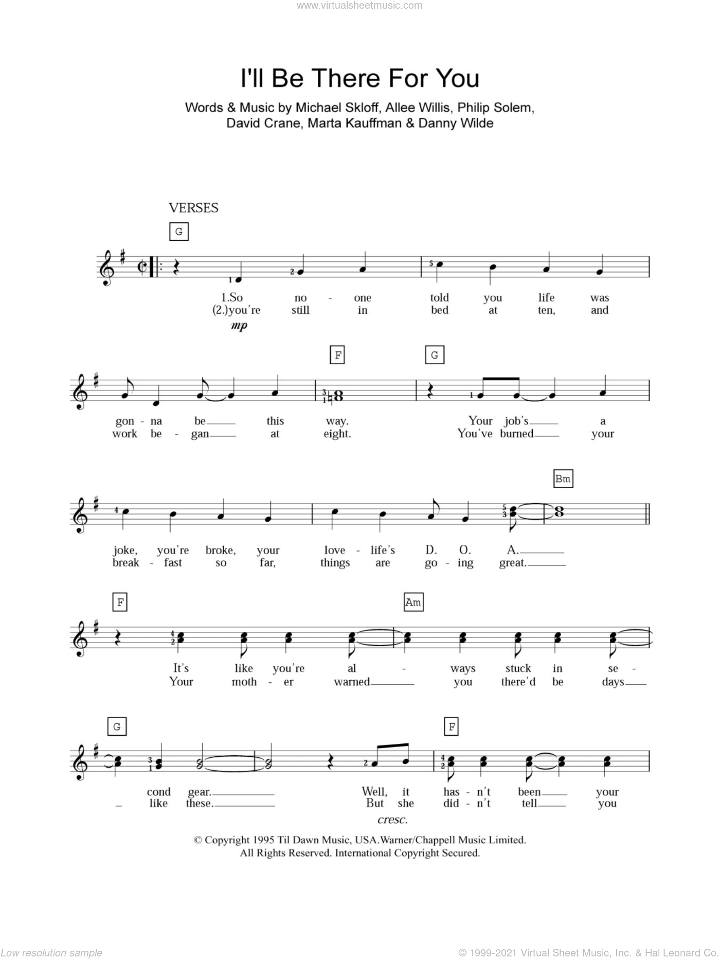 I'll Be There For You sheet music for piano solo (chords, lyrics, melody) by The Rembrandts, Allee Willis, Danny Wilde, David Crane, Marta Kauffman, Michael Skloff and Philip Solem, intermediate piano (chords, lyrics, melody)