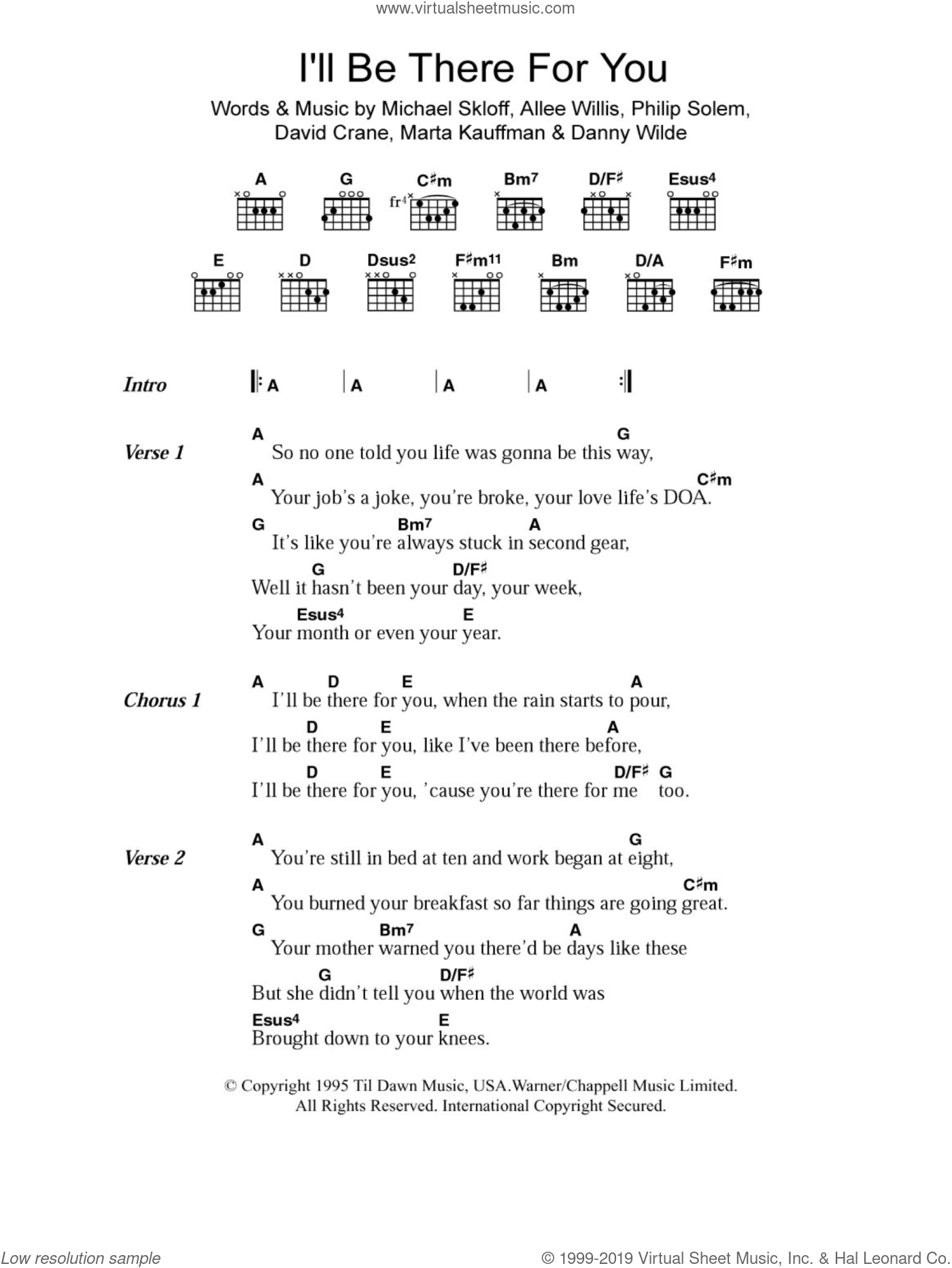 I'll Be There For You sheet music for guitar (chords) by The Rembrandts, Allee Willis, Danny Wilde, David Crane, Marta Kauffman, Michael Skloff and Philip Solem, intermediate skill level