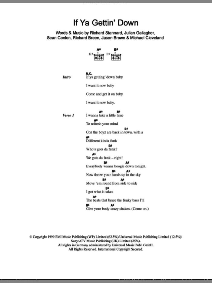 If Ya Gettin' Down sheet music for guitar (chords, lyrics, melody) by Sean Conlon