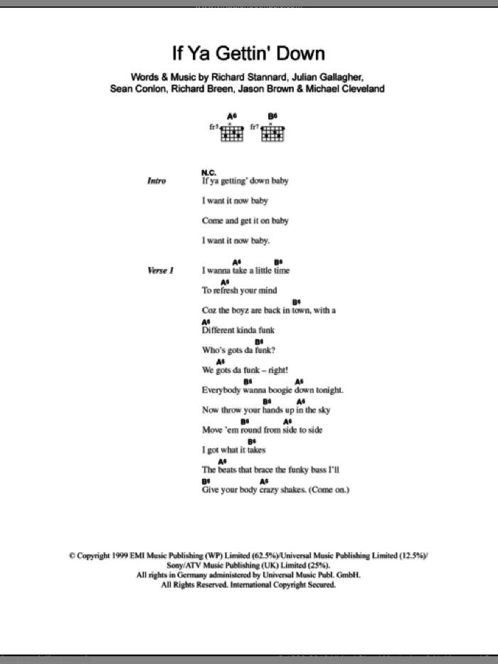 Five - If Ya Gettin' Down sheet music for guitar (chords) [PDF]