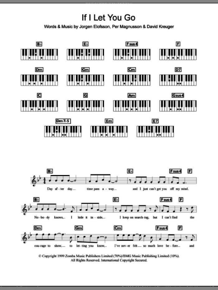 If I Let You Go sheet music for piano solo (chords, lyrics, melody) by Per Magnusson, Westlife, David Kreuger and Jorgen Elofsson. Score Image Preview.