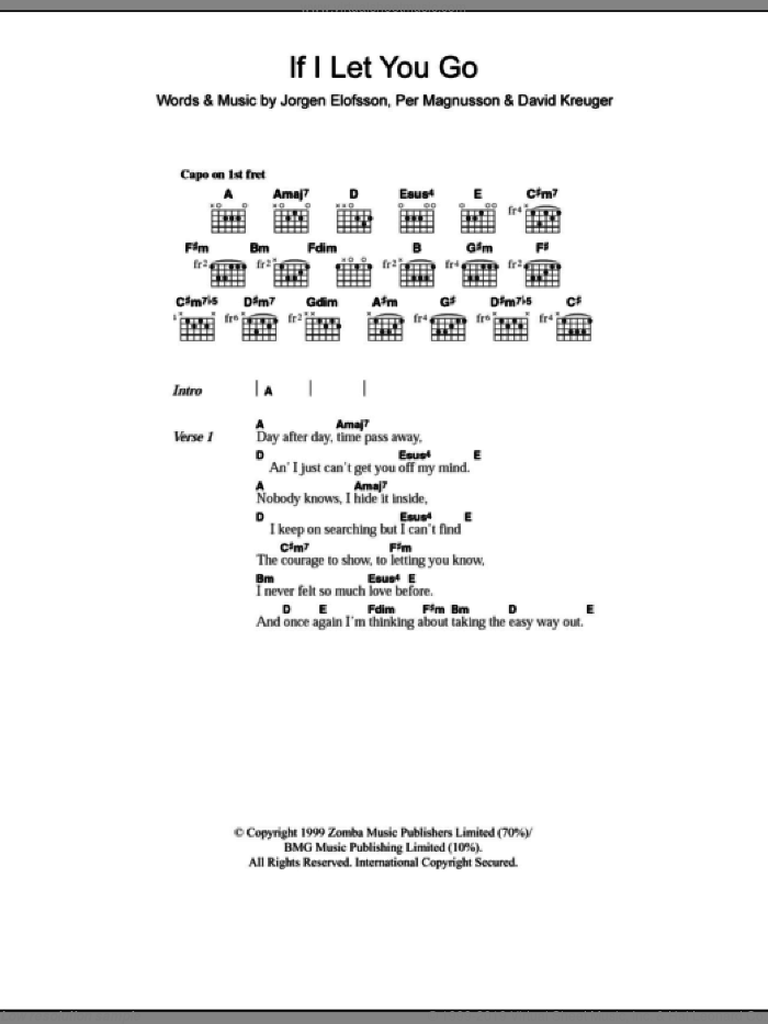 If I Let You Go sheet music for guitar (chords, lyrics, melody) by Per Magnusson