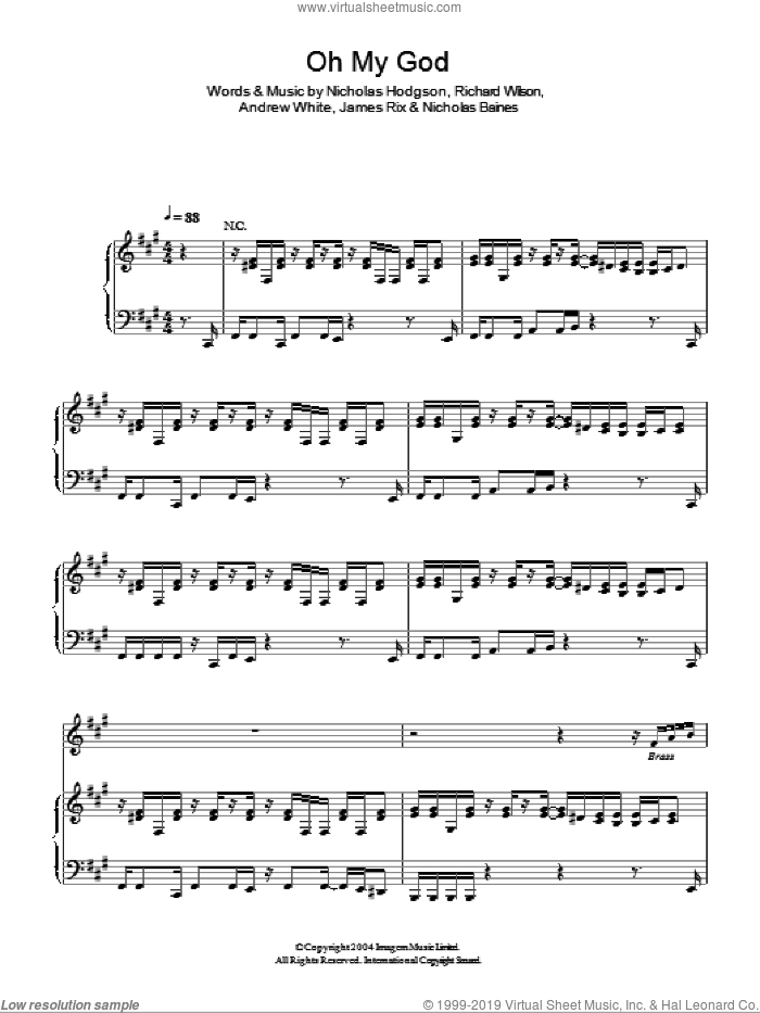 Oh My God sheet music for voice, piano or guitar by Lily Allen and Kaiser Chiefs, intermediate voice, piano or guitar. Score Image Preview.