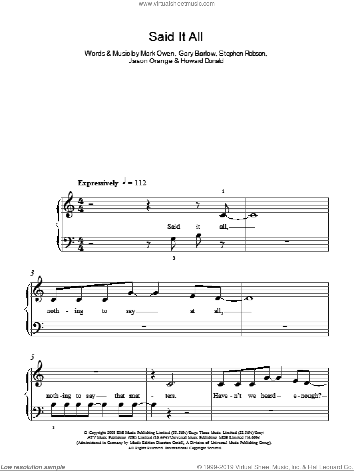 Said It All sheet music for piano solo by Take That, Gary Barlow and Mark Owen, easy piano. Score Image Preview.