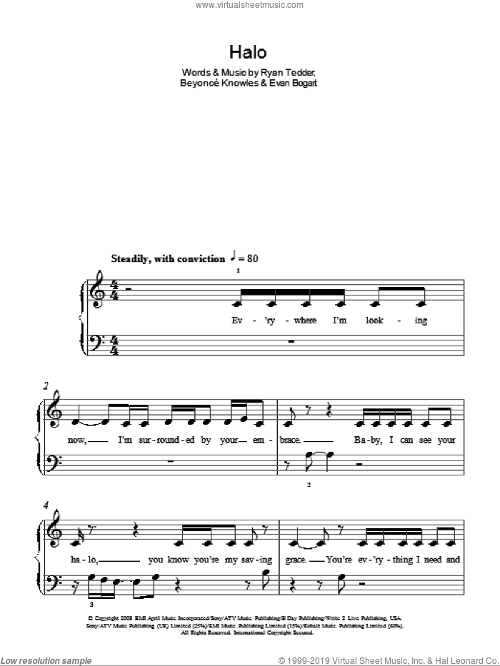 Halo, (easy) sheet music for piano solo by Beyonce, Evan Bogart and Ryan Tedder, easy skill level