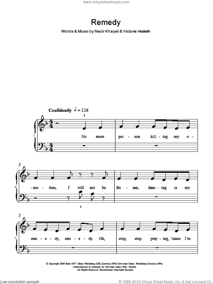 Remedy sheet music for piano solo by Victoria Hesketh and Nadir Khayat. Score Image Preview.
