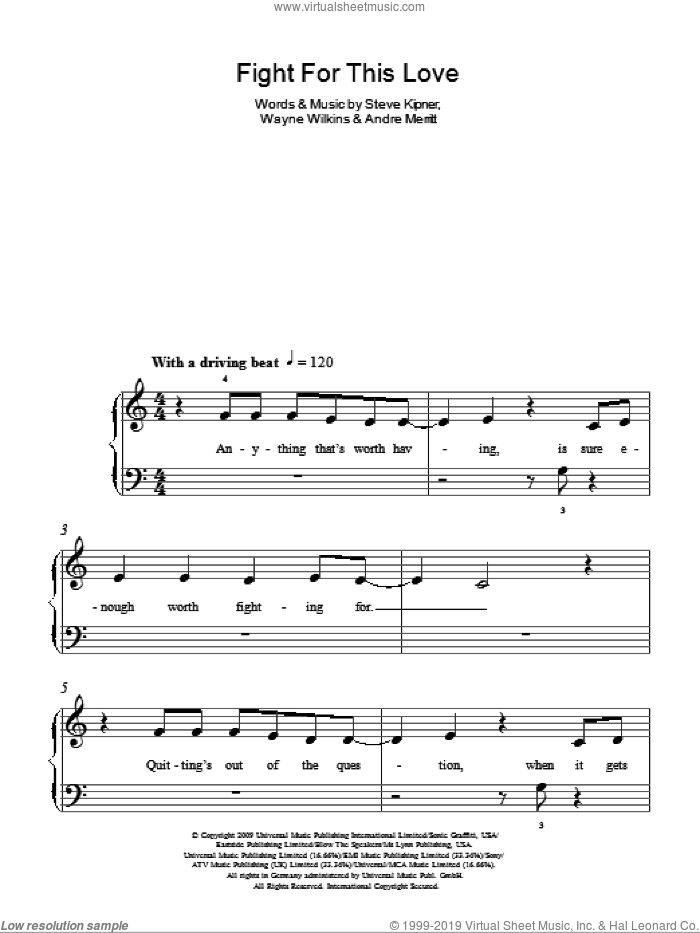 Fight For This Love sheet music for piano solo by Cheryl Cole, Andre Merritt, Steve Kipner and Wayne Wilkins, easy skill level