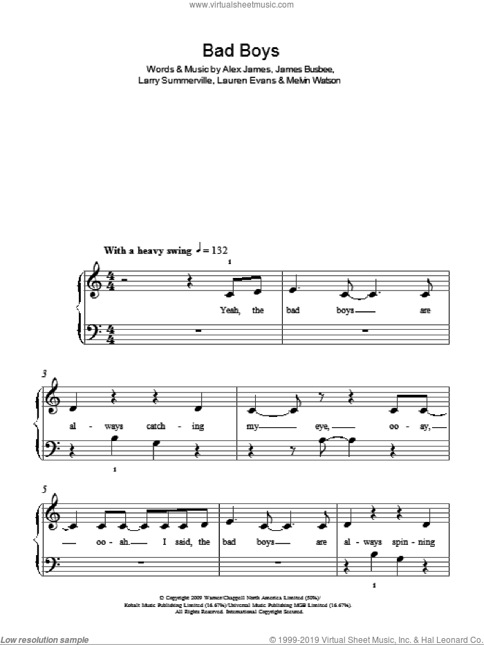 Bad Boys sheet music for piano solo by Alexandra Burke, Alex James and Lauren Evans, easy. Score Image Preview.