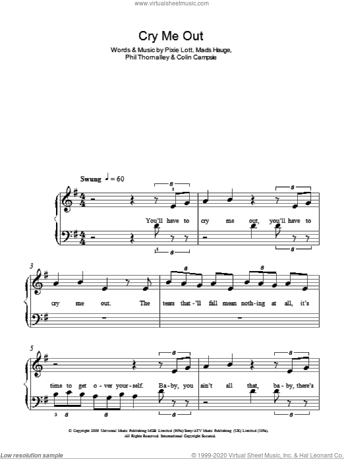 Cry Me Out sheet music for piano solo (chords) by Phil Thornalley