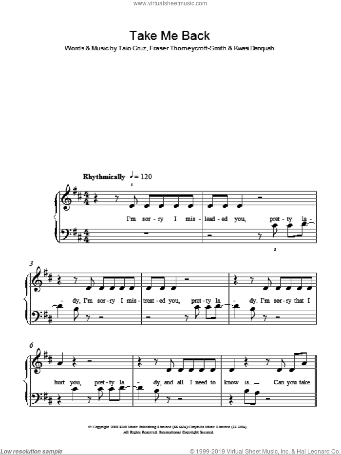 Take Me Back sheet music for piano solo (chords) by Kwasi Danquah
