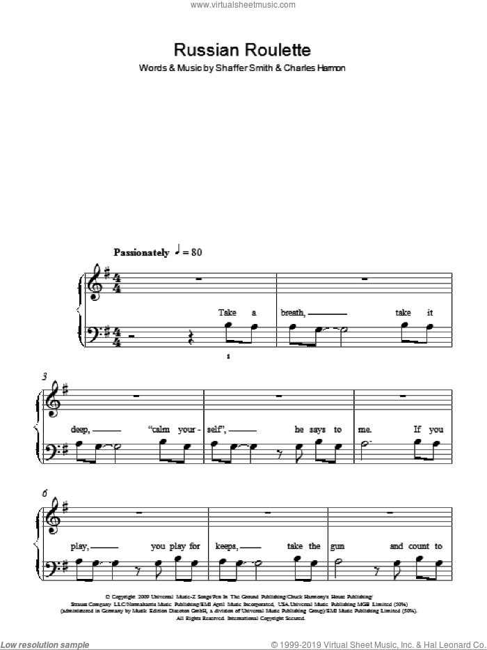 Russian Roulette sheet music for piano solo by Shaffer Smith and Rihanna. Score Image Preview.