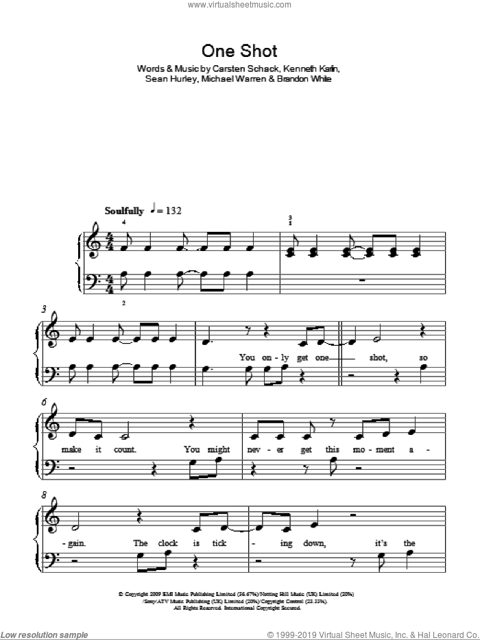One Shot sheet music for piano solo (chords) by Sean Hurley