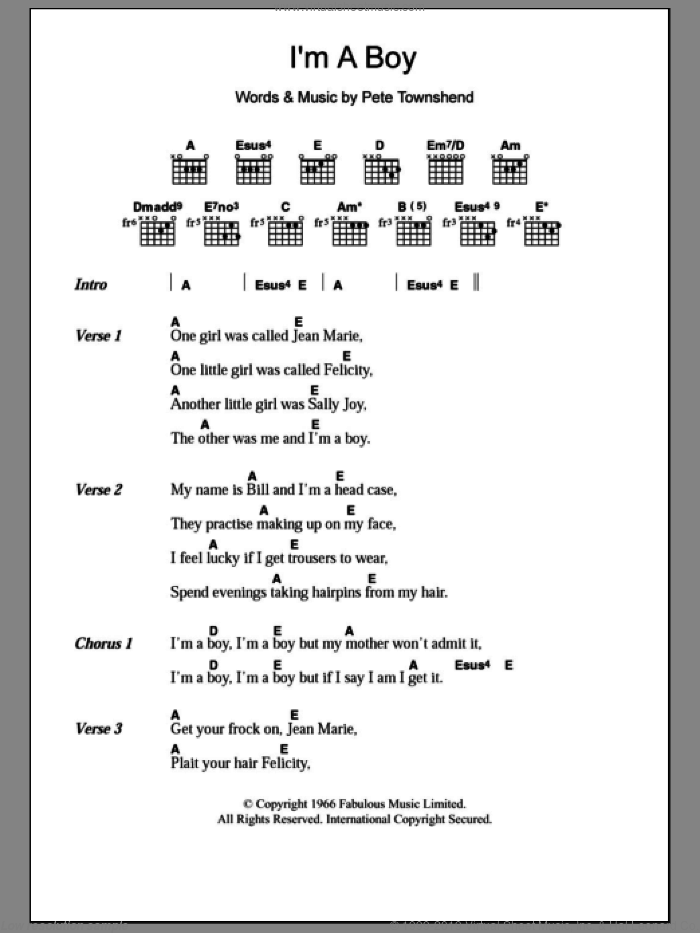I'm A Boy sheet music for guitar (chords) by The Who and Pete Townshend, intermediate. Score Image Preview.