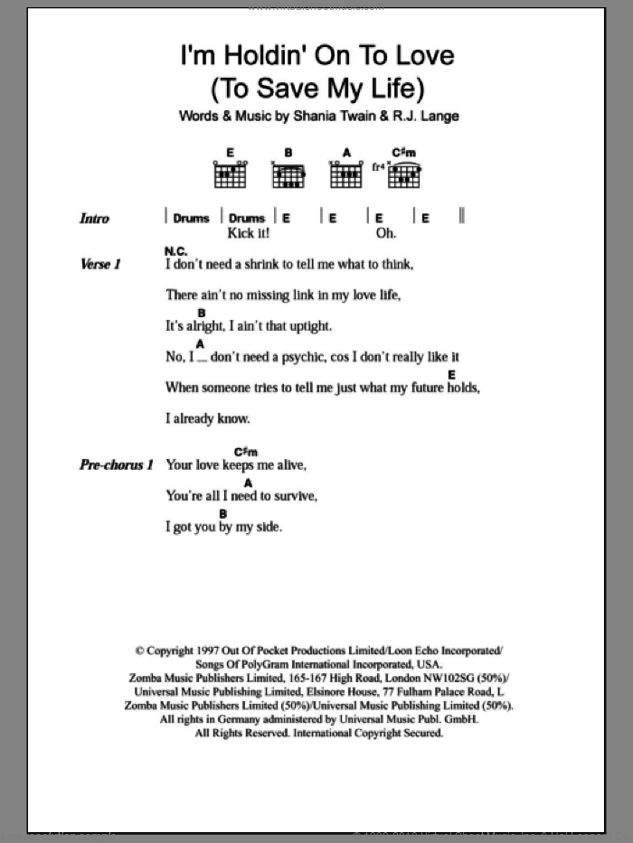 I'm Holdin' On To Love (To Save My Life) sheet music for guitar (chords) by Shania Twain and Robert John Lange, intermediate