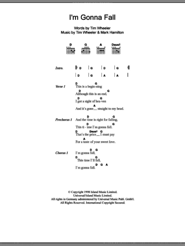 I'm Gonna Fall sheet music for guitar (chords) by Tim Wheeler and Mark Hamilton, intermediate. Score Image Preview.
