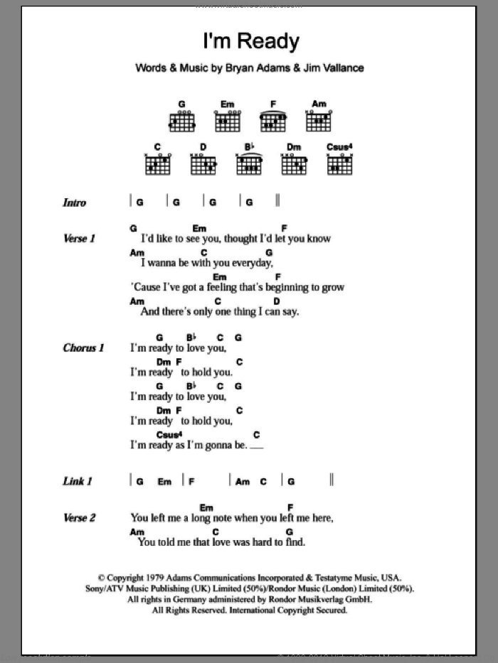 I'm Ready sheet music for guitar (chords) by Bryan Adams and Jim Vallance, intermediate. Score Image Preview.