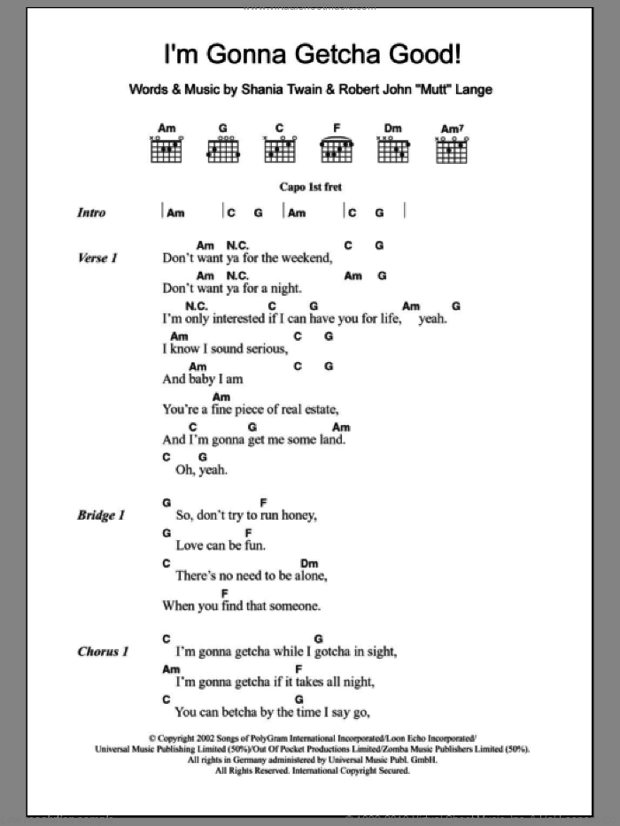 I'm Gonna Getcha Good! sheet music for guitar (chords) by Shania Twain and Robert John Lange, intermediate skill level