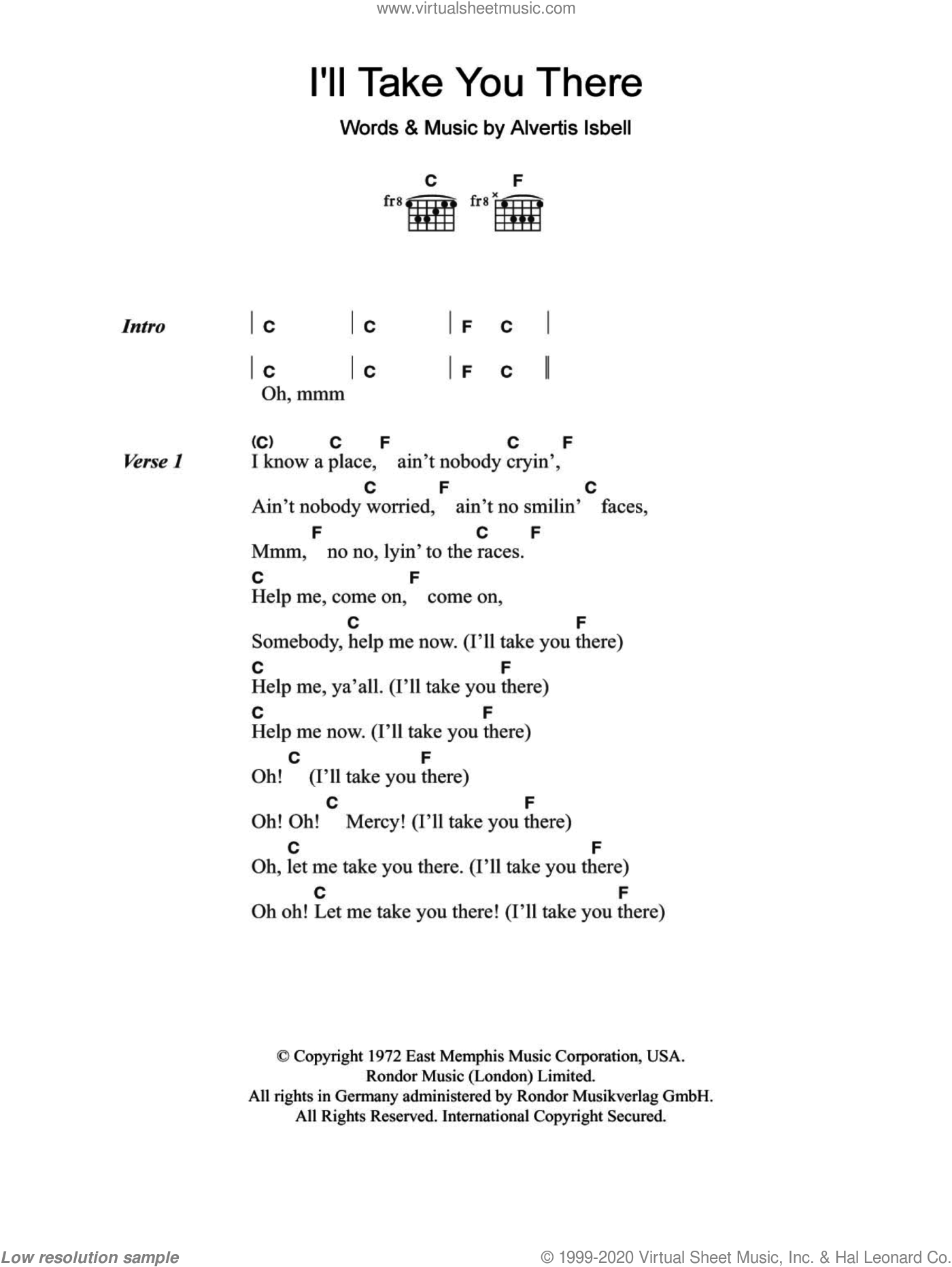 I'll Take You There sheet music for guitar (chords) by Alvertis Isbell and The Staple Singers. Score Image Preview.