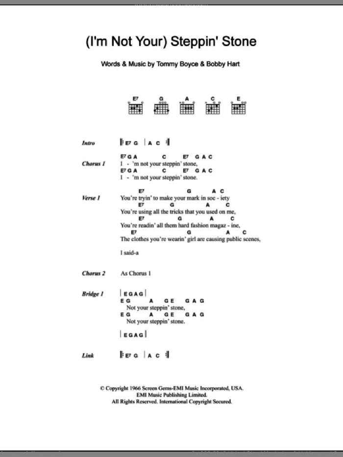 Monkees - (I\'m Not Your) Steppin\' Stone sheet music for guitar (chords)