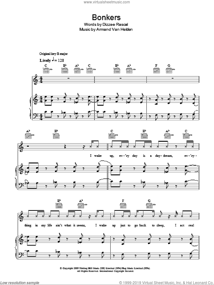 Bonkers sheet music for voice, piano or guitar by Dylan Mills and Armand Van Helden. Score Image Preview.