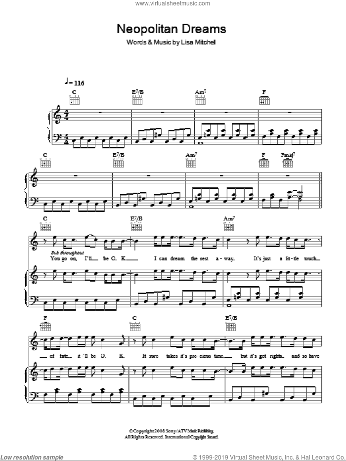 Neopolitan Dreams sheet music for voice, piano or guitar by Lisa Mitchell, intermediate. Score Image Preview.