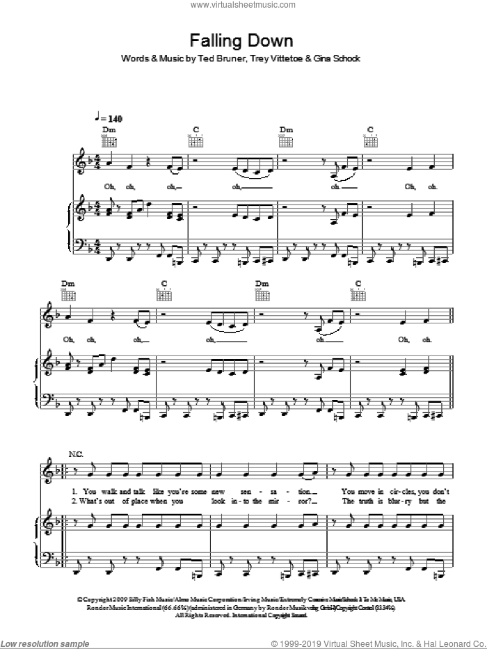 Falling Down sheet music for voice, piano or guitar by Selena Gomez, Gina Schock, Ted Bruner and Trey Vittetoe, intermediate skill level