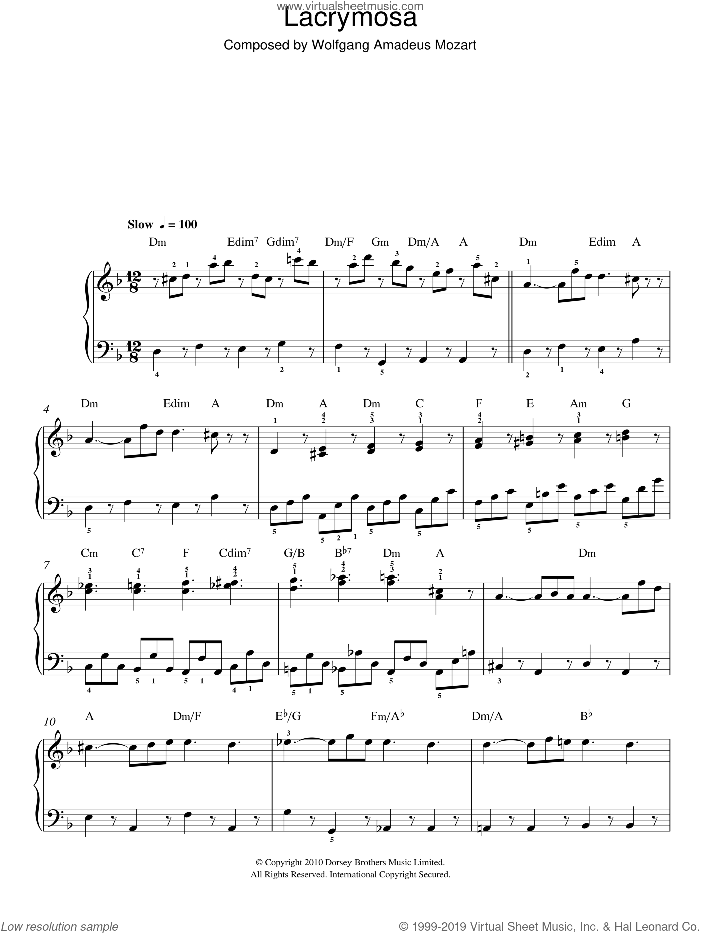 Lacrymosa (from Requiem Mass) sheet music for piano solo by Wolfgang Amadeus Mozart, classical score, easy skill level