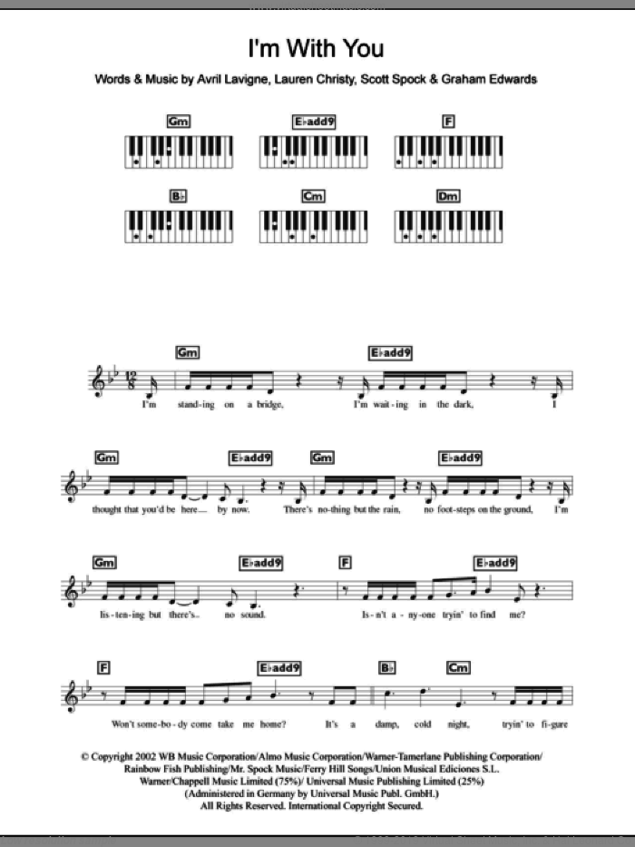 I'm With You sheet music for piano solo (chords, lyrics, melody) by Avril Lavigne, intermediate piano (chords, lyrics, melody). Score Image Preview.
