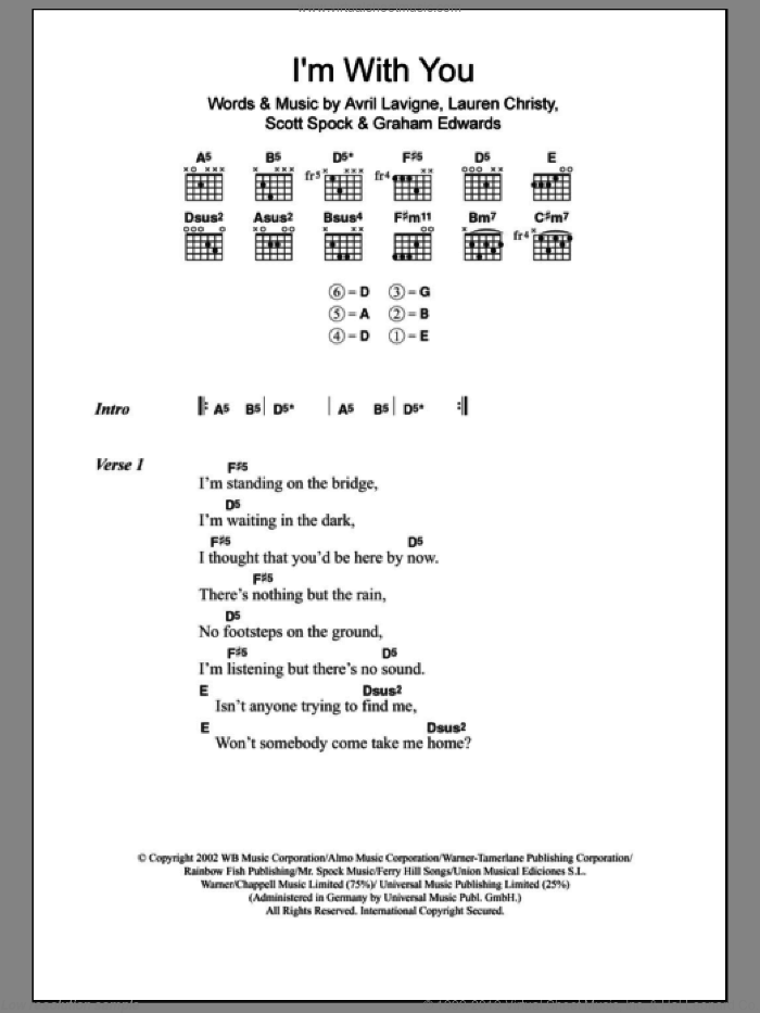I'm With You sheet music for guitar (chords, lyrics, melody) by Graham Edwards