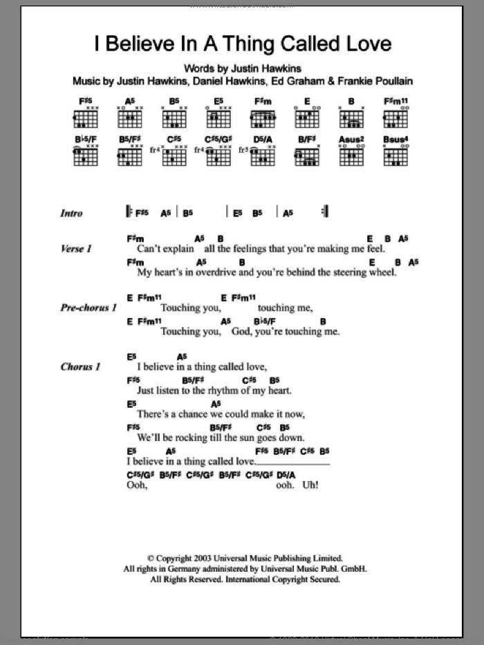 I Believe In A Thing Called Love sheet music for guitar (chords) by The Darkness, intermediate guitar (chords). Score Image Preview.