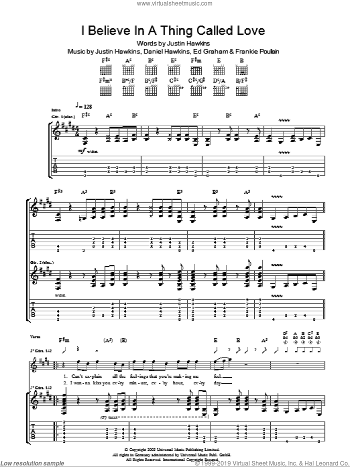 I Believe In A Thing Called Love sheet music for guitar (tablature) by Daniel Hawkins and Justin Hawkins. Score Image Preview.