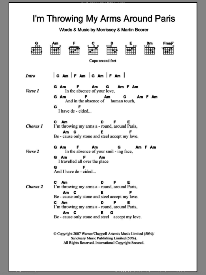 I'm Throwing My Arms Around Paris sheet music for guitar (chords) by Steven Morrissey and Martin Boorer, intermediate skill level