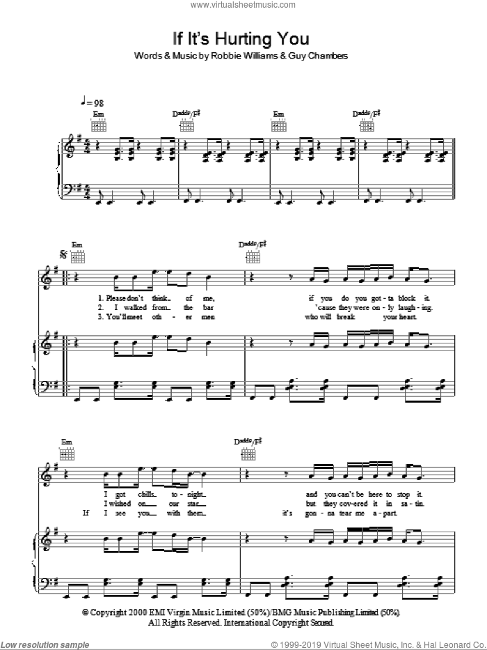 If It's Hurting You sheet music for voice, piano or guitar by Guy Chambers and Robbie Williams. Score Image Preview.