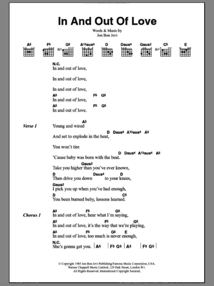 In And Out Of Love sheet music for guitar (chords) by Bon Jovi. Score Image Preview.