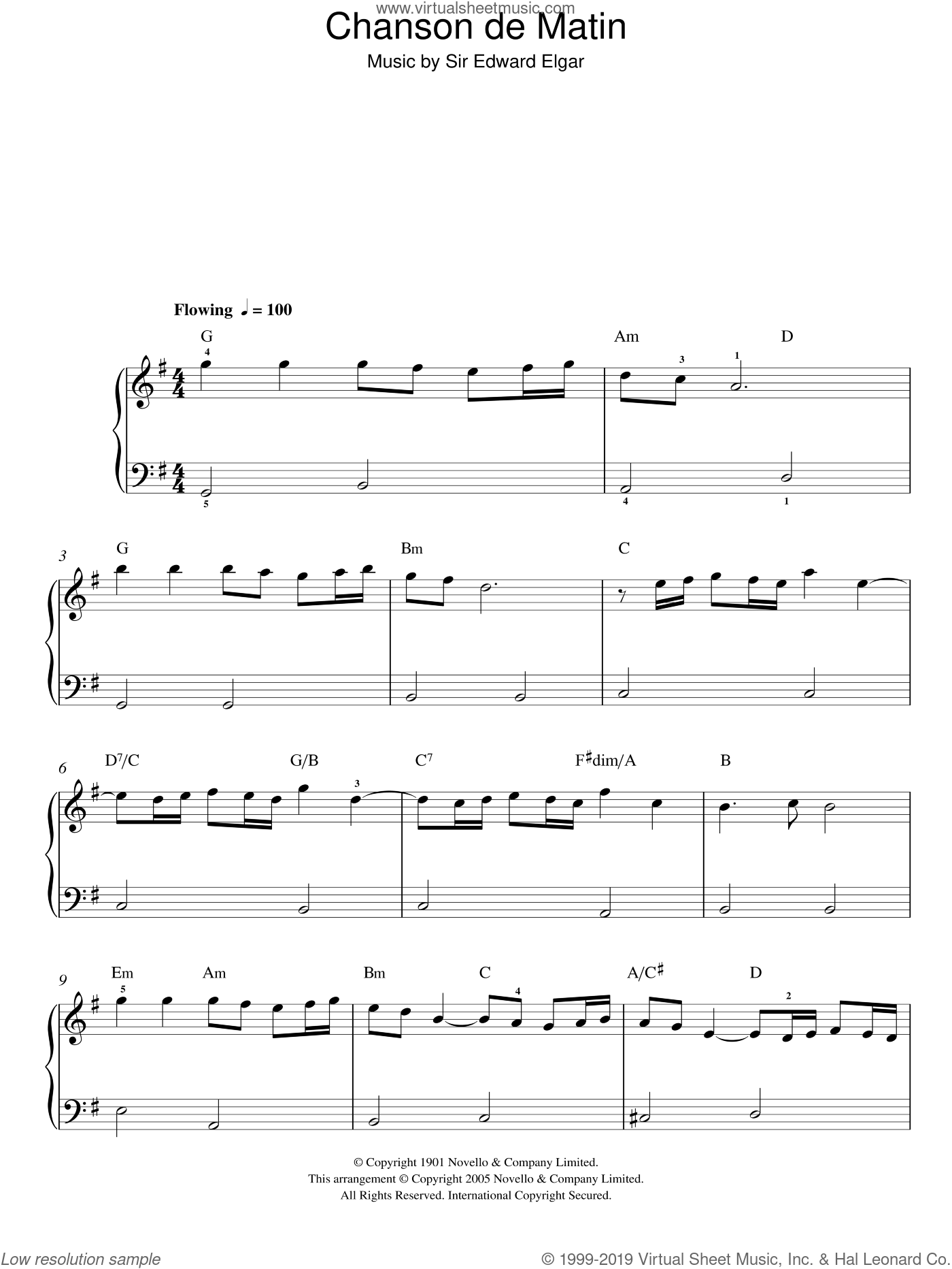 Chanson De Matin Op. 15, No. 2 sheet music for piano solo by Edward Elgar. Score Image Preview.