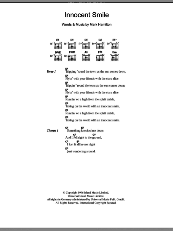 Innocent Smile sheet music for guitar (chords) by Tim Wheeler and Mark Hamilton, intermediate skill level