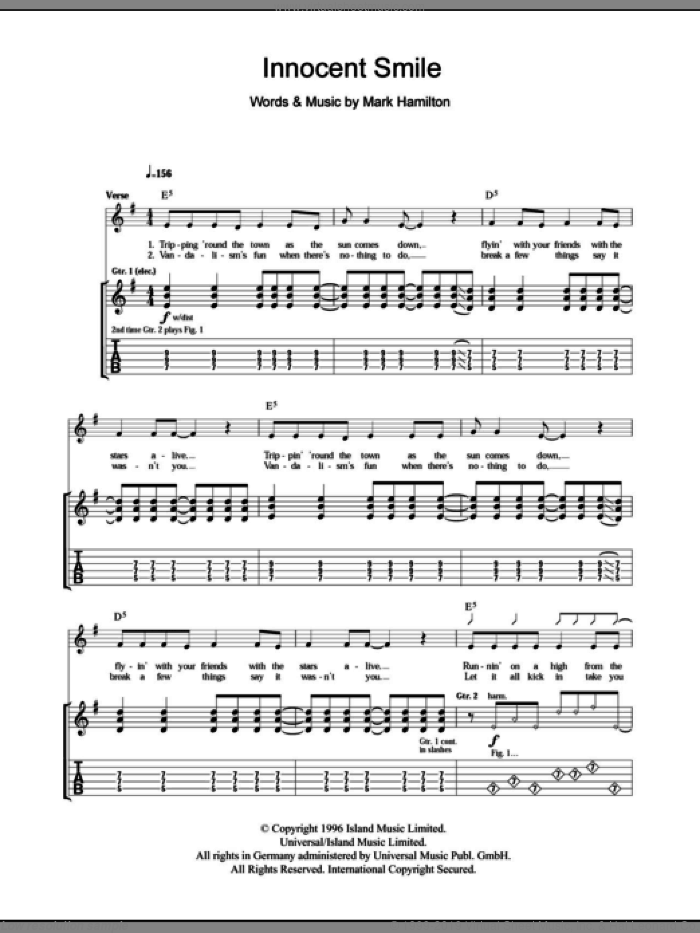 Innocent Smile sheet music for guitar (tablature) by Mark Hamilton and Tim Wheeler. Score Image Preview.