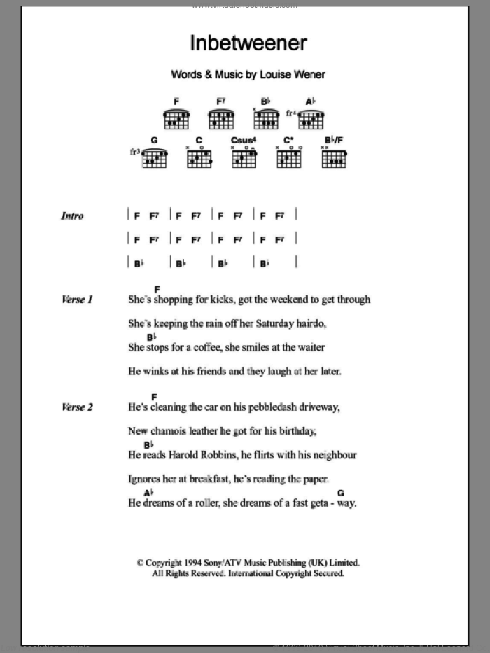 Inbetweener sheet music for guitar (chords) by Sleeper and Louise Wener, intermediate skill level