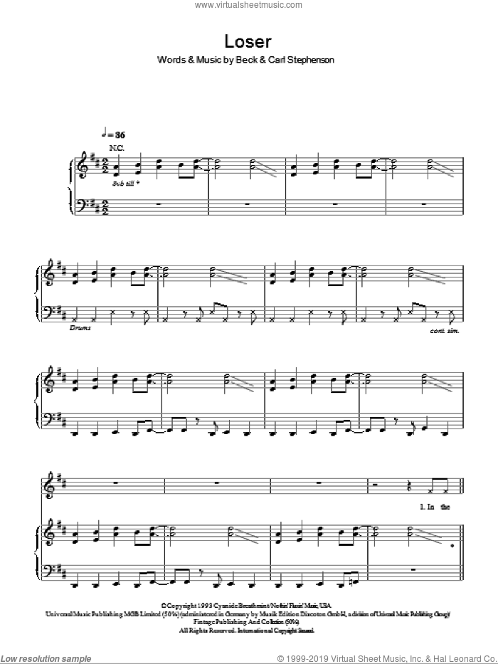 Loser sheet music for voice, piano or guitar by Karl Stephenson, Glee Cast and Beck Hansen